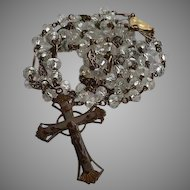 Antique gold plated Brass & Rock Crystal Catholic Rosary