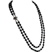Art Deco Faceted Black Jet Glass Crystal 2 rows Necklace with unique smoky topaz crystal clasp