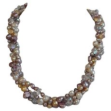 Vintage Crystal & Genuine Cultured Freshwater Pearls Torsade Necklace
