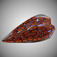 Large Italy Sommerso Murano Glass Abstract Brooch Pin with orange , blue & gold millefiori inclusions under a lay of clear glass