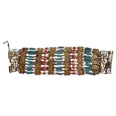 Art Deco Egyptian Revival Coral Glass & Turquoise Ceramic & Gold Tone Metal elements linked Bracelet