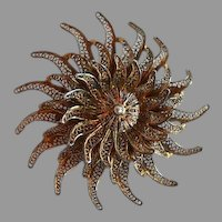 Large & elaborate Vintage Signed WFS Sterling Silver Gold Washed 4 lays Flower filigree dimensional Brooch Pin
