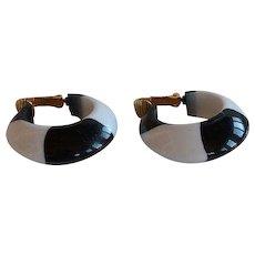 Vintage Injected White & Black Lucite Plastic Hoop Clip Earrings
