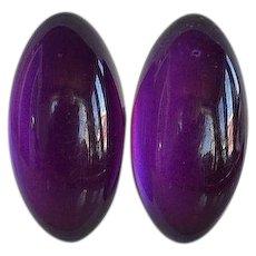 Huge Vintage Purple Violet semi-translucent moonglow plastic high domed oval Statement Clip-on Earrings