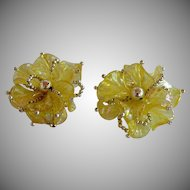 Huge Vintage 50's Iridescent Translucent Yellow molded Lucite Plastic dimensional layered Flower Statement Clip-on Earrings