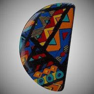 Vintage colorful serigraphy modernist abstract geometric black plastic resin half circle shape brooch pin