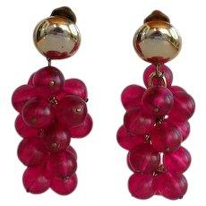Vintage Purple Pink lucite plastic Dangle Clip-on Earrings