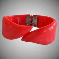Book Piece Vintage 50's French Red Lucite Plastic Bypass Hinged Bracelet