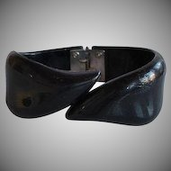 Book Piece Vintage 50's French Black Lucite Plastic Bypass Hinged Bracelet