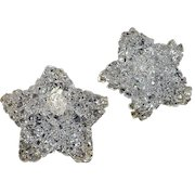 Big Vintage handcrafted clear colorless plastic dimensional Star pierced Earrings