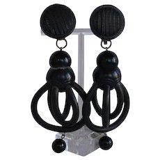 Unique vintage Designer handcrafted modernist sculptural dimensional Black Rubber & Black Resin plastic statement dangle Clip-on Earrings