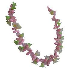 Vintage signed Hong Kong pink & green molded plastic Flowers Necklace
