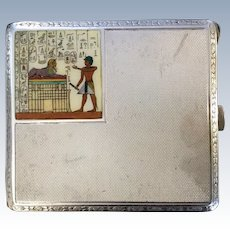 Antique Egyptian Revival Sterling Silver Cigarette case with Enamel Decoration.