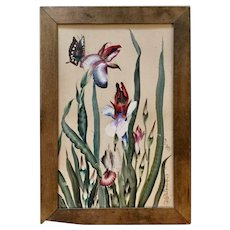 Antique Water Color Painting, created by Toshio Aoki, Japanese American Artist. Framed. Butterflies, Flowers.