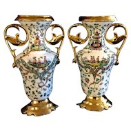 Antique pair of porcelain European Chinese Paintings with gold decoration
