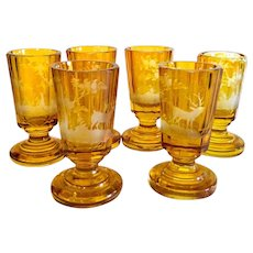 Antique Moser set of six vodka cups drinking cups, amber hand cut glass.