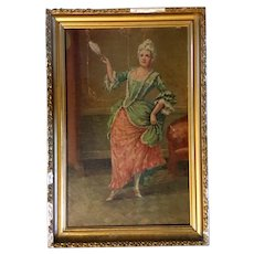 Antique Oil Painting of Lady. Created in the 19th century.