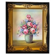 Antique Oil Painting Sill Life, flowers in vase. Original frame. Signed.