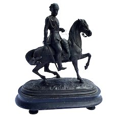 Antique Metal Figurine King or Soldier on horse. Wooden pedestal. Possibly Russian or French