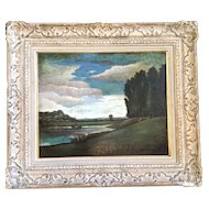 Antique Oil Painting from 1861 Impressionist signed by artist.