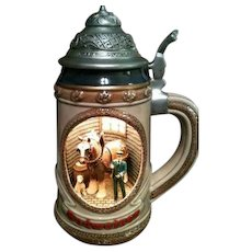 New In Box Anheuser Busch Budweiser Clydesdale's Stable Scene Light-up Stein
