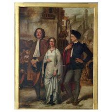 """Frederick Richard Pickersgill oil painting on board 'Love Triangle"""" 19th century."""