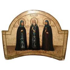 Antique Russian Orthodox hand painted icon Three Saints, 19th century.