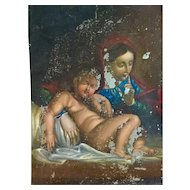 18th Century Painting of Mary & Jesus hand painted, Selling As is.