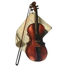 Vintage Oil Painting still life, Violin & Music Sheets. Signed.