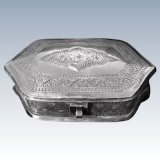 18th Century Antique Spanish Colonial Sterling Silver handmade box.