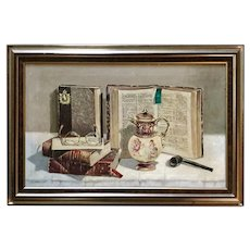 Vintage Still Life oil Painting antique books, Created 1940