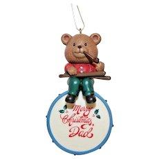 1991 Santas best ornament - Merry Christmas dad, bear, drum, pipe