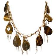 Beautiful Sterling Silver & Tiger Eye tear drop necklace!