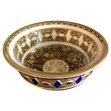 Antique Moser glass bowl hand carved with enamel decoration.
