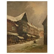 Antique European painting winter city, 19th century.