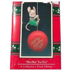 Vintage Enesco treasury christmas ornaments, ho-ho yo-yo mouse