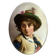 Antique Hand Painted Porcelain plaque of boy, framed. Dresden.