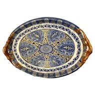 Antique Wedgewood porcelain tray with hand painted dragons.