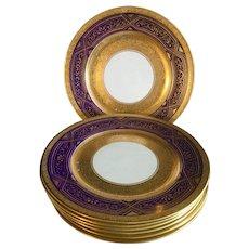 Antique Crown Chelsea China gold & cobalt blue set of 7 dinner plates.