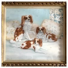 Antique Watercolor of three dogs, Cavalier King Charles Spaniels. 19th or 20th century.