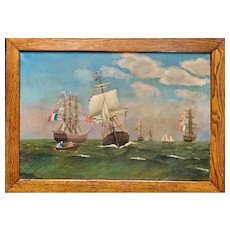 Antique American Oil Painting of Ships, battle of 'QUASI-WAR' created in the 19th century.