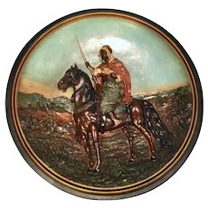 Antique German Ceramic round plaque charger Arab on horse. Marked.  Musterschutz Co.