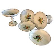 Antique Meissen Hand painted porcelain compotes & dishes. Set of 5