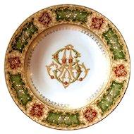 Antique Austrian hand painted porcelain plate with enamel bead decoration.