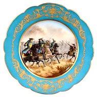 Antique Sevres hand painted porcelain plate, Battle Of VILLAVICIOSA 1710.
