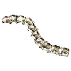 Vintage sterling silver & turquoise bracelet pansy flowers.