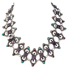 Vintage Sterling Silver necklace with amethyst, turquoise & corals.