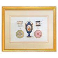Antique French Sevres print of soft porcelain gilded frame hand gold decoration.
