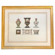 Antique French Sevres chromolithograph print of porcelain gilded frame BEAUTIFUL