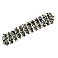 Vintage hand made Mexican sterling silver bracelet with turquoise.